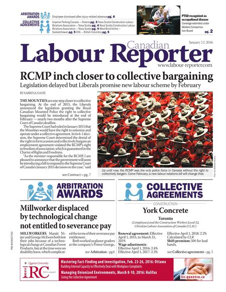 Canadian Labour Reporter January 12 2016