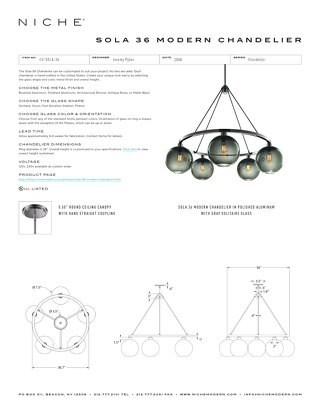 Sola 36 Chandelier - Tear Sheet