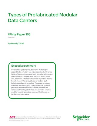 WP 165 Types of Prefabricated Modular Data Centers