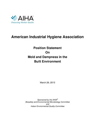 AIHA Position Statement on Mold and Dampness