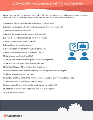20 Questions to Ask to Close More Deals