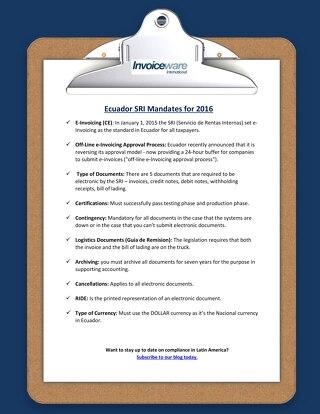 Ecuador checklist