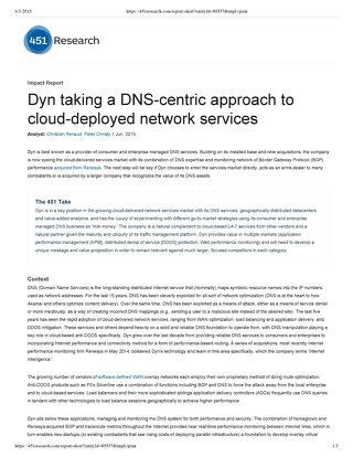 Dyn taking a DNS-­centric approach to cloud­-deployed network services
