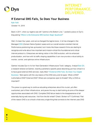 If External DNS Fails, So Does Your Business