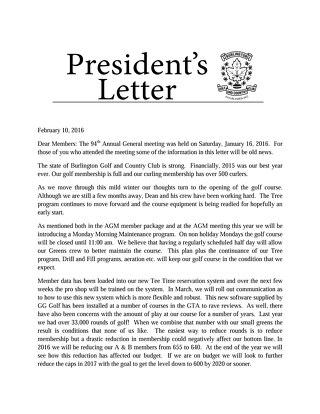 Presidents Letter ~ February 10 2016