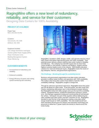 [Case Study] RagingWire offers a new level of redundancy, reliability, and service for their customers