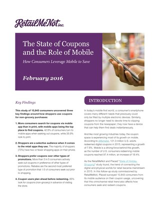 The State of Coupons and the Role of Mobile