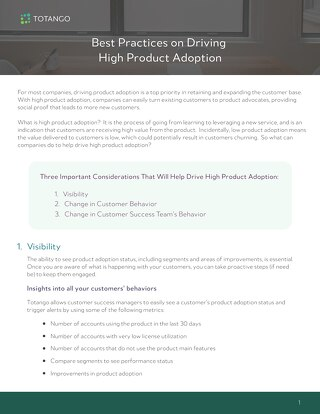 Best Practices on Driving High Product Adoption