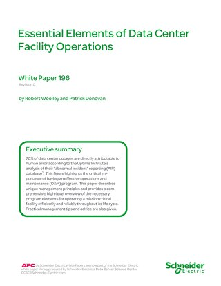 WP 196 Essential Elements of Data Center Facility Operations