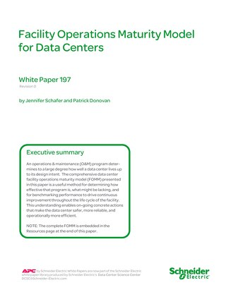 WP 197 Facility Operations Maturity Model for Data Centers