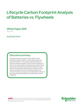 WP 209 Lifecycle Carbon Footprint Analysis of Batteries vs. Flywheels