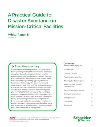 WP 5 A Practical Guide to Disaster Avoidance in Mission Critical Facilities