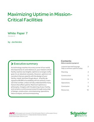 WP 7 Maximizing Uptime in Mission Critical Facilities