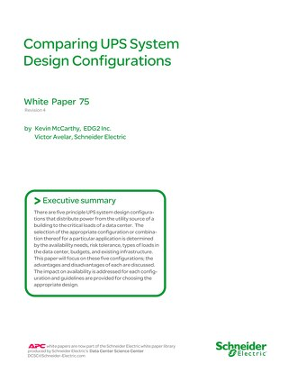 WP 75 Comparing UPS System Design Configurations