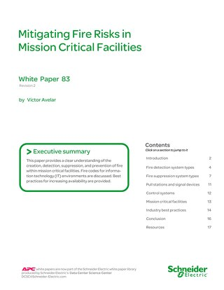 WP 83 Mitigating Fire Risks in Mission Critical Facilities