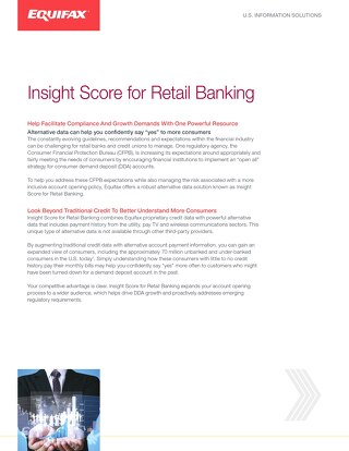 Insight Score for Retail Banking