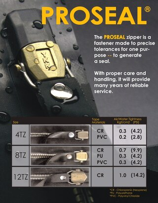 PROSEAL® Air / Water tight zipper