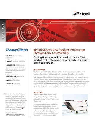 Thomas & Betts Speeds New Product Introduction Through Early Cost Visibility