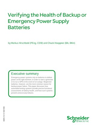 Verifying the Health of Backup or Emergency Power Supply Batteries