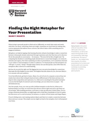 Finding the Right Metaphor for Your Presentation
