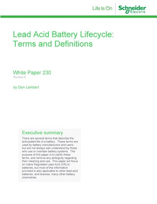 WP 230 - Lead Acid Battery Lifecycle: Terms and Definitions