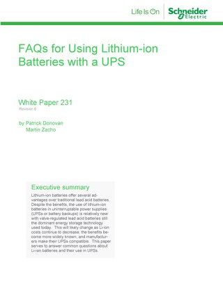 WP 231 - FAQs for Using Lithium-ion Batteries with a UPS