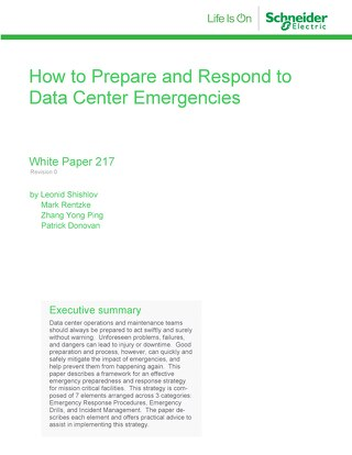 WP 217 - How to Prepare and Respond to Data Center Emergencies