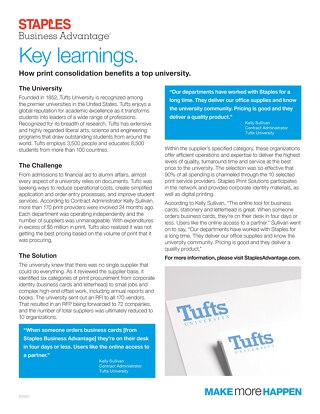 Print Vendor Consolidation: Tufts University Case Study