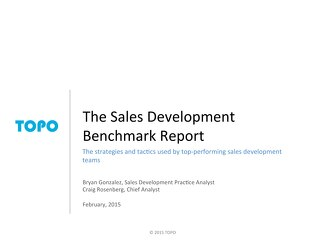 TOPO Sales Development Benchmark Report