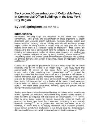Background levels of fungi in NYC - white paper