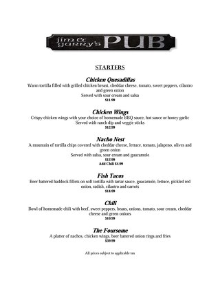 Jim & Garry's Pub Menu 2016
