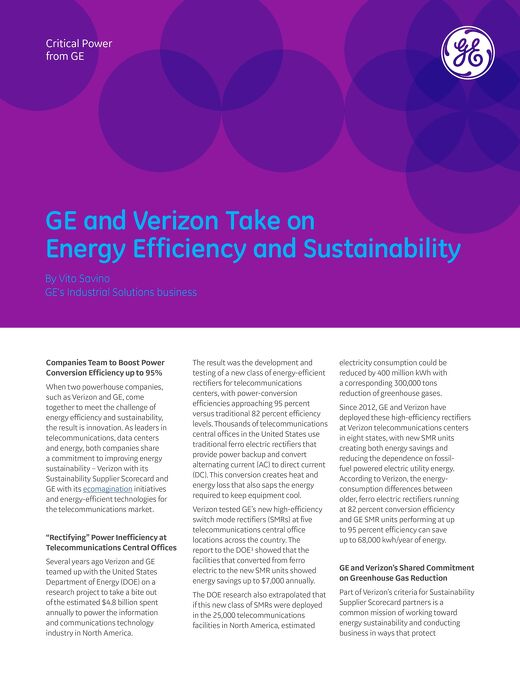 GE and Verizon Take on Energy Efficiency and Sustainability