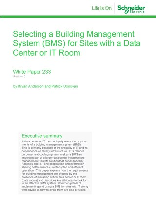 WP 233 - Selecting a Building Management System (BMS) for Sites with a Data Center or IT Room
