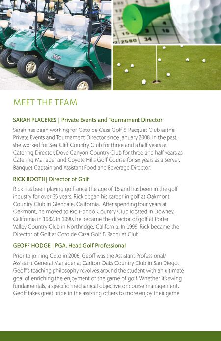 Clubcorp  Coto De Caza Golf Tournament Brochure