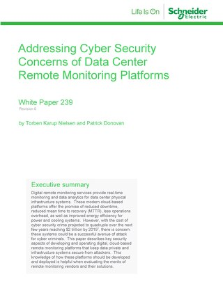 WP 239 - Addressing Cyber Security Concerns of Data Center Remote Monitoring Platforms