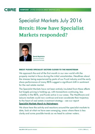 Brexit- How have specialist markets responded