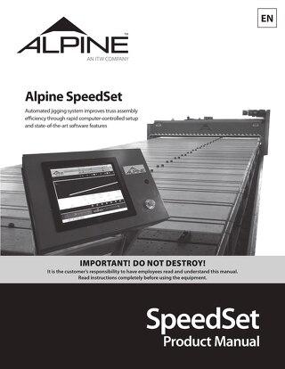 SpeedSet Product Manual