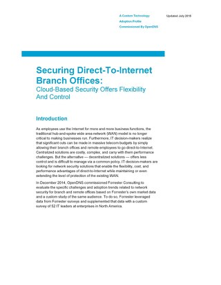 Securing Direct-to-Internet Branch Offices