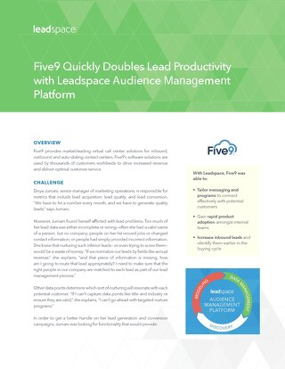 Five9 Quickly Doubles Lead Productivity with Leadspace Platform