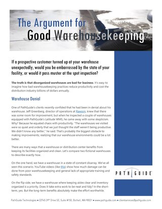 The Argument for Good Warehousekeeping