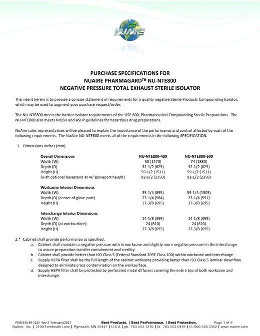 [Spec] NU-NTE800 Specification (115v)