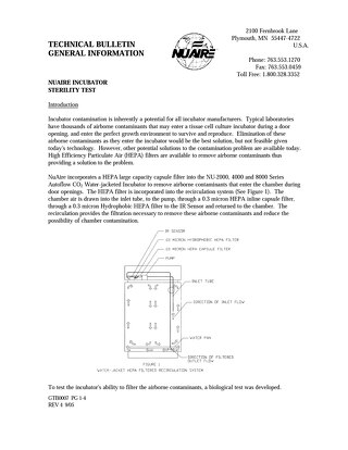 NuAire CO2 Incubator Sterility Test