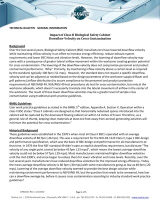 [Bulletin] Impact of Class II Biosafety Cabinet Downflow Velocity on Cross Contamination