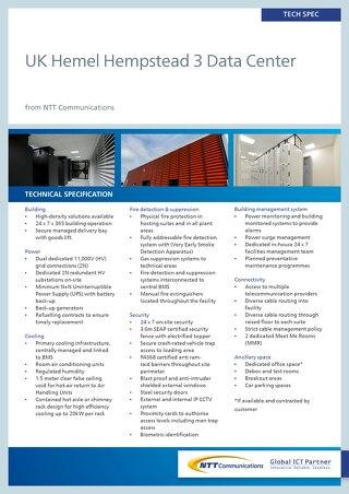 UK Hemel Hempstead 3 Data Center Tech Spec