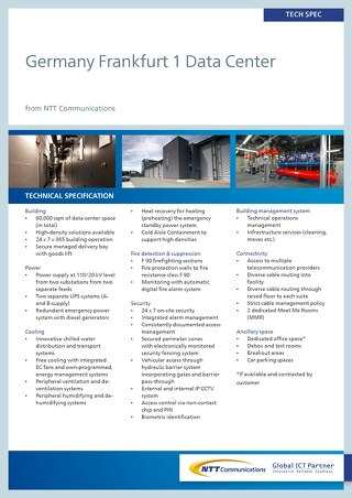 Germany Frankfurt 1 Data Center Tech Spec