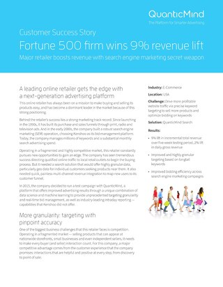 QuanticMind Customer Success Story - Fortune 500 Retailer