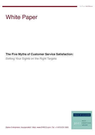 5 Myths of Customer Service