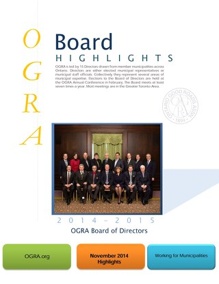 OGRA Board of Directors Highlights November 2014