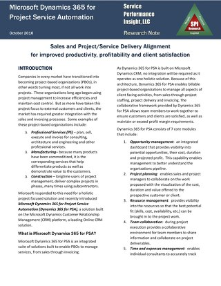 SPI Research Note on Microsoft Dynamics 365 for Project Service Automation