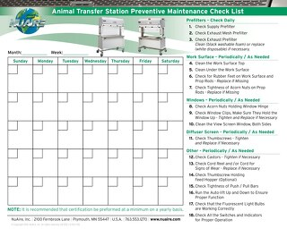 Animal Transfer Station Preventative Maintenance Calendar